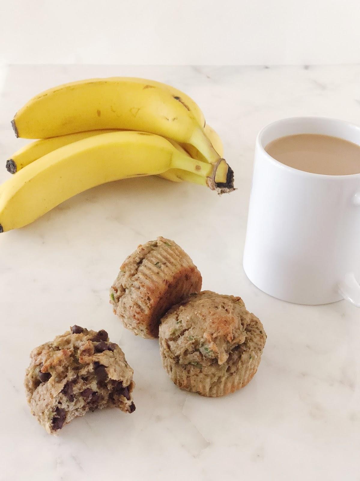 Chocolate chip banana zucchini muffins