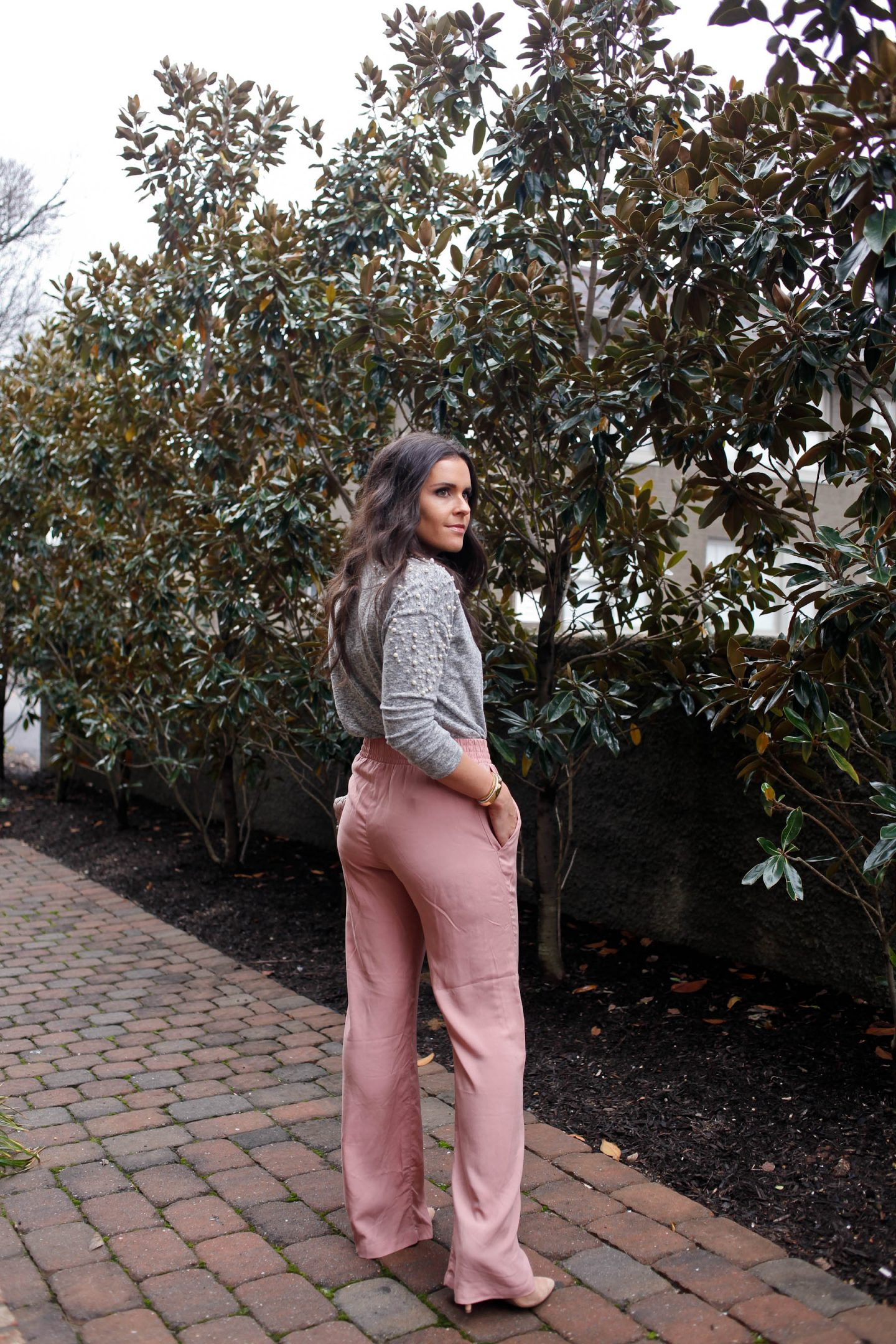 pearl sweater and pink pants