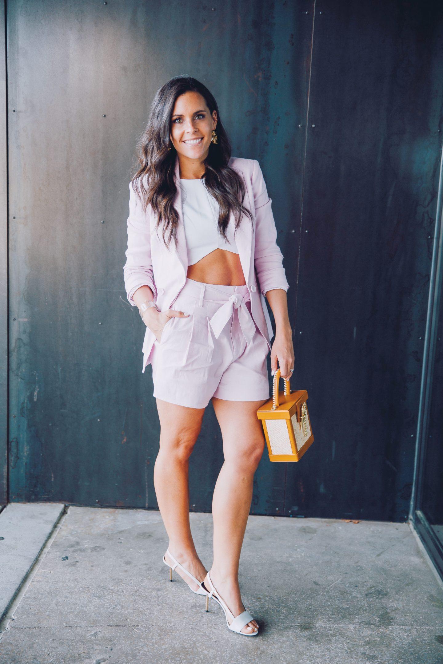 pink short suit
