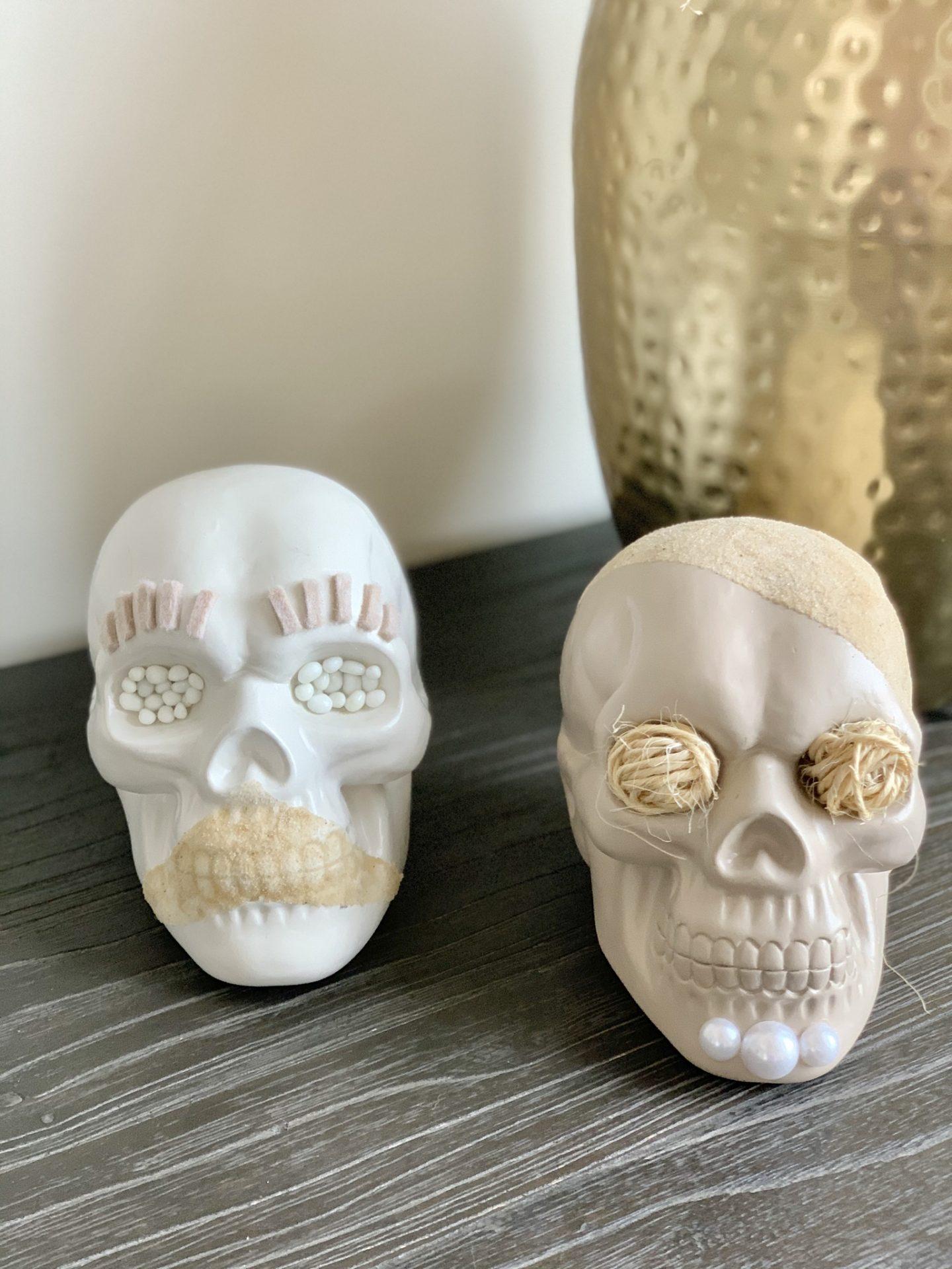 diy neutral halloween skulls