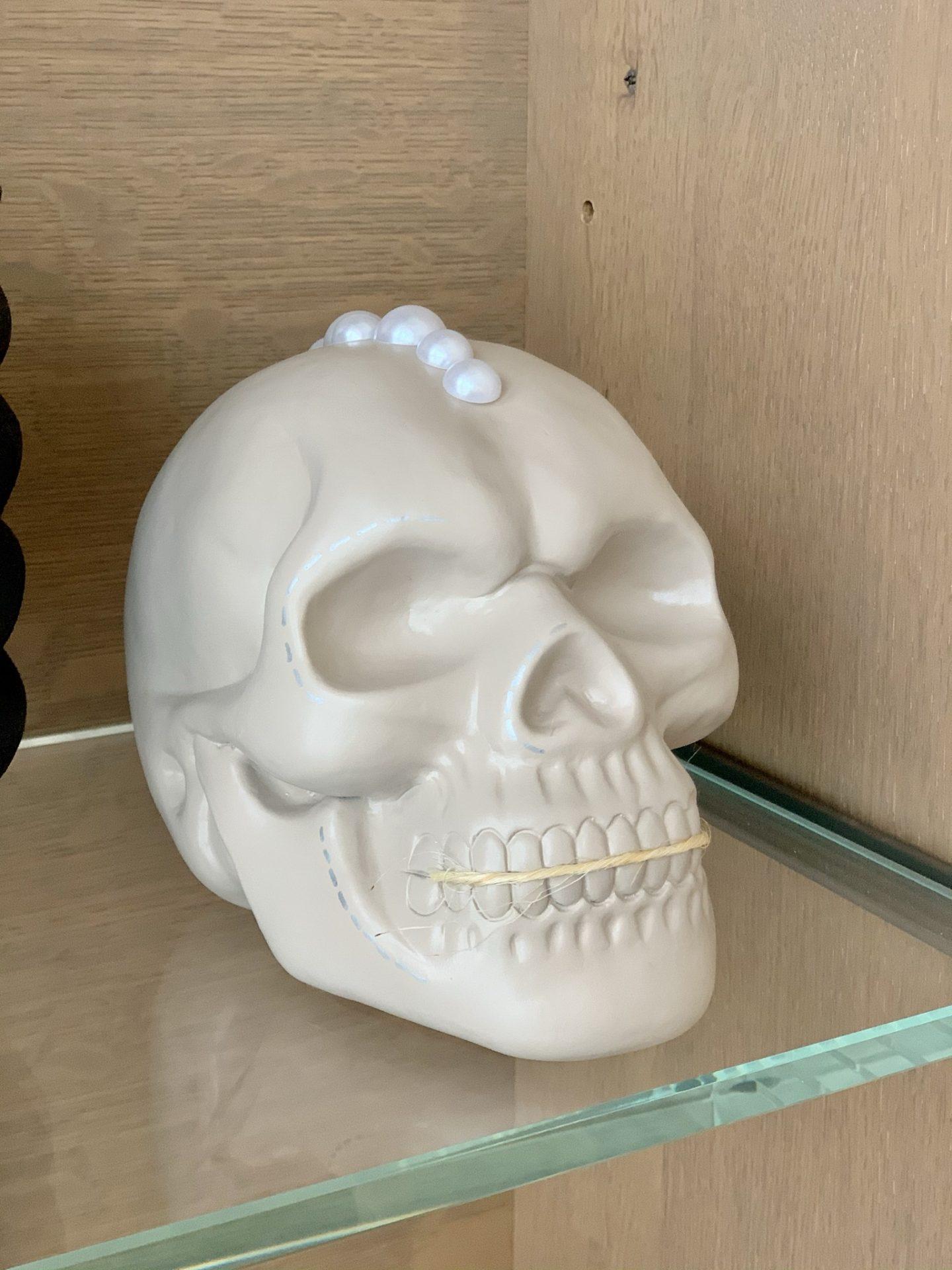 diy neutral halloween skull