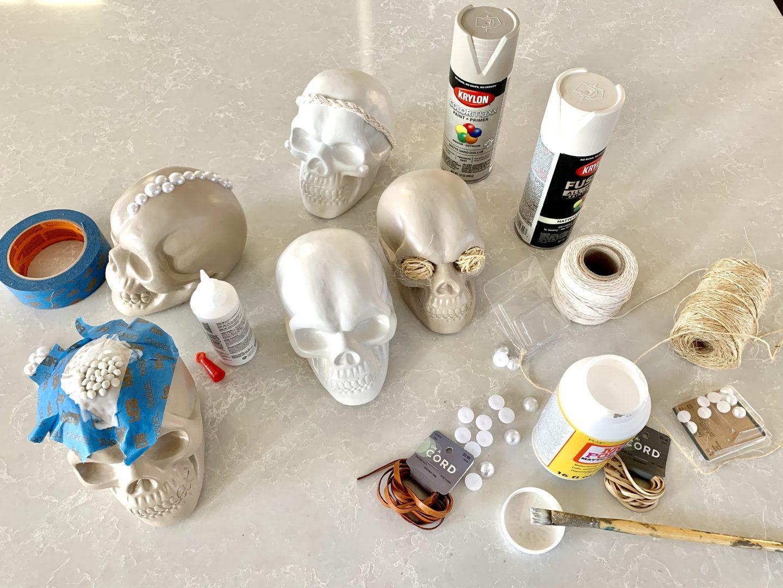 diy neutral halloween skull decor